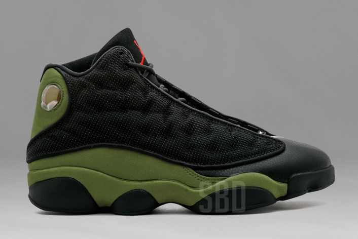The Air Jordan 13 Olive (Style Code: will release in January 2018 dressed  in a Black, True Red, and Light Olive color scheme for the new year.