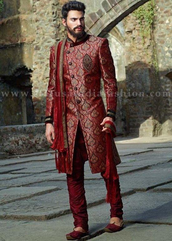 Status Designers Mens Suits Maroon Brocade Designer Indowestern