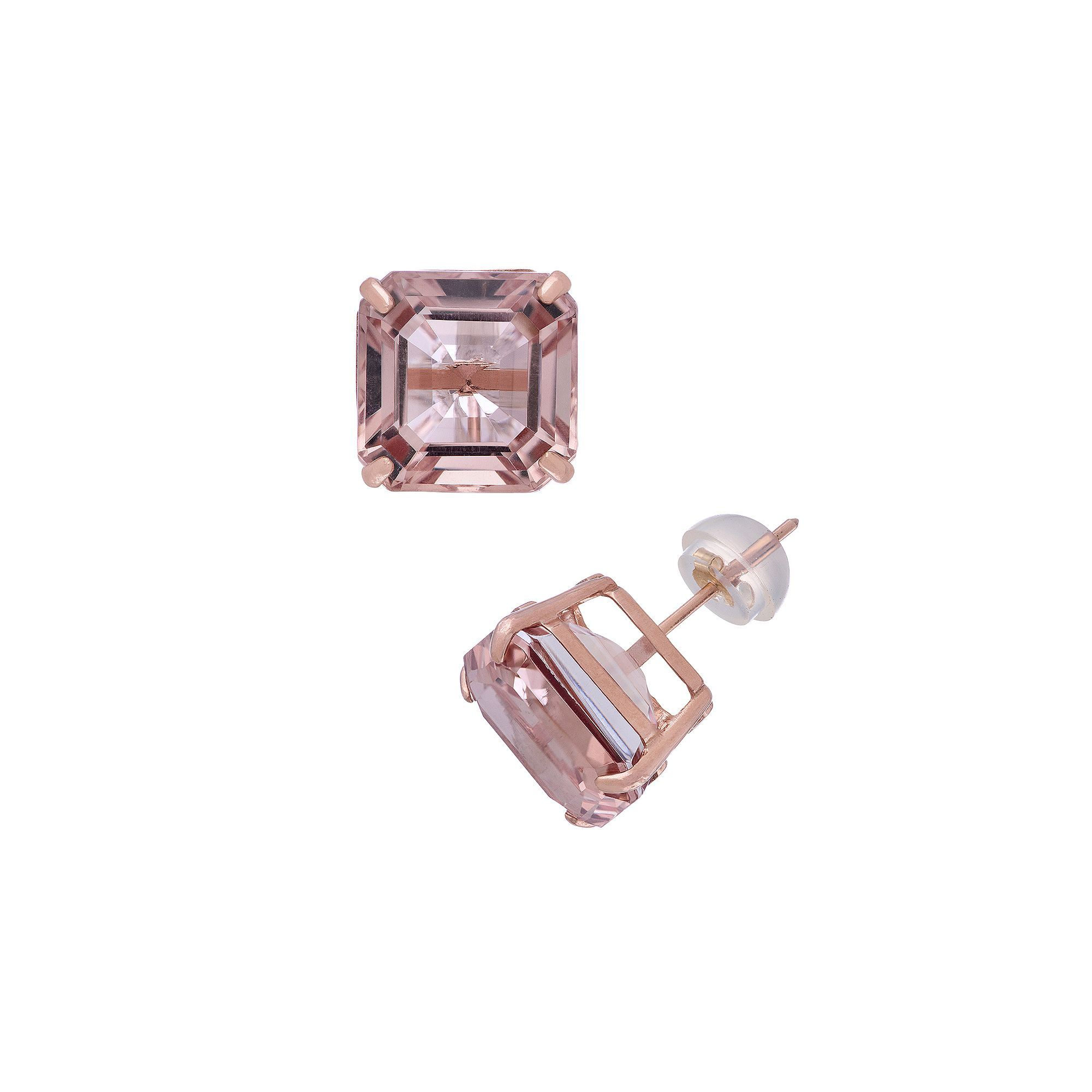 Simulated Aquamarine Cross Stud Earrings 14K Rose Gold Over Sterling Silver