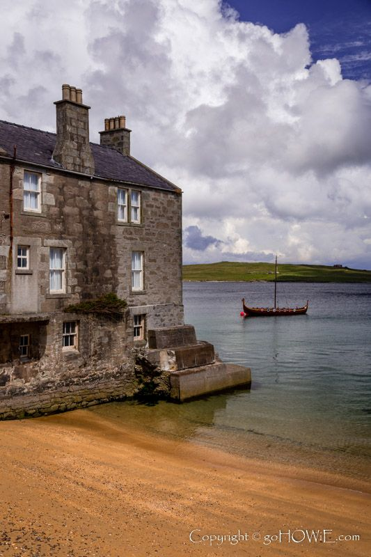 ༺❀Old stone house, and replica Viking boat, Lerwick, Shetland Islands, Scotland. #shetlandislands