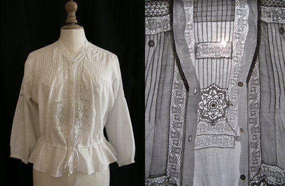 1900 ancien corsage blanc cousu main dentelle par. Black Bedroom Furniture Sets. Home Design Ideas