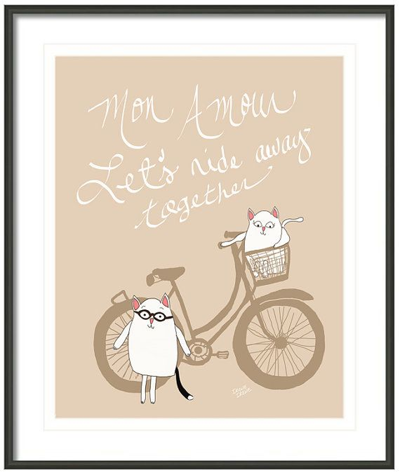 Cats In Love Cat Couple Funny French On By IreneIreneArt 1900
