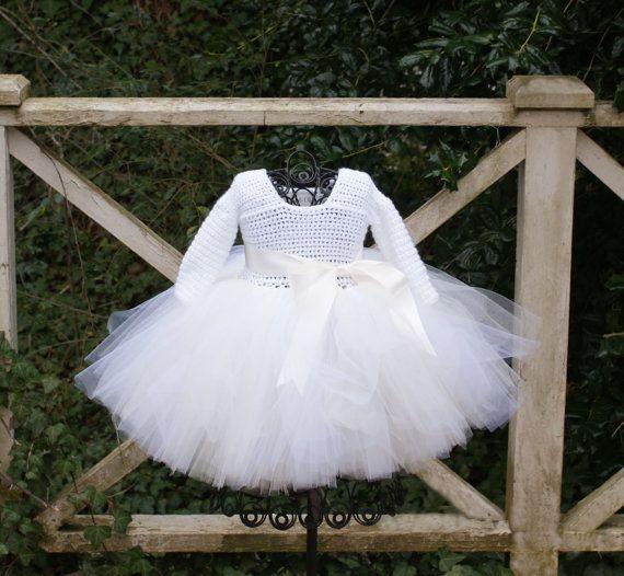 Long sleeve white dress for baby