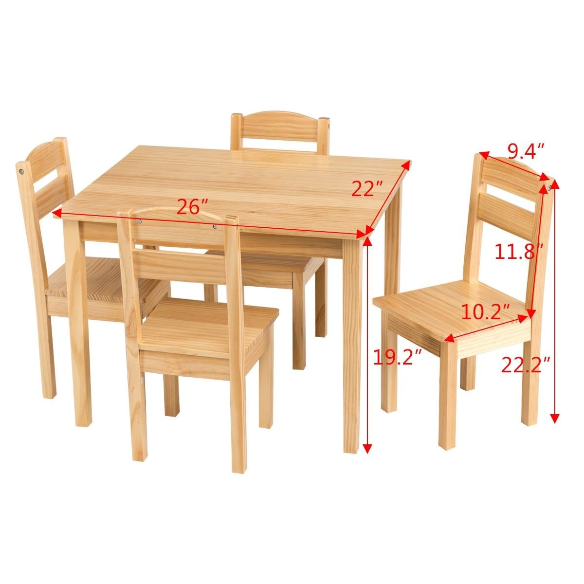 Kids 5 Piece Play Room Table And Chair Set Wooden Activity Kids