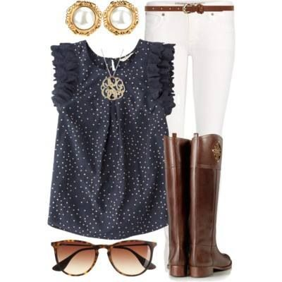 Outfit blue blouse white pants long boots