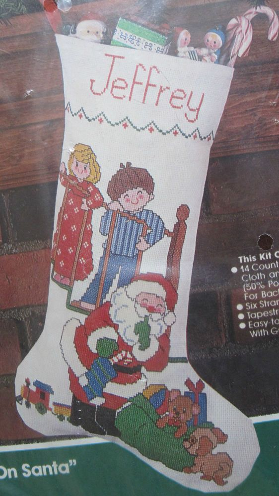 "Spying On Santa Counted Cross Stitch Stocking Kit 82104 Bucilla Heirloom 18"" NIP #Bucilla #Stocking"