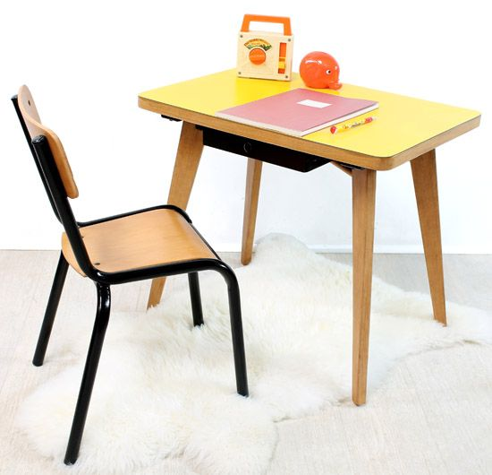 BF218 - All small yellow desk and chair 60s Desks Pinterest