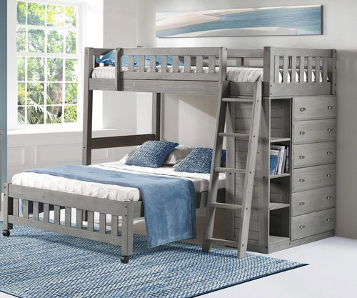 Buy Discovery World Kids Westport Gray Twin Over Full Loft Bunk Bed And Kids Bunk Beds With Sto Bunk Beds With Storage Bunk Beds With Drawers Bed With Drawers