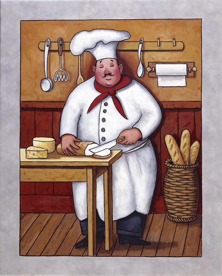 Frameless Modern Cartoon Chefs Canvas Prints Restaurant: Chef Painting - Chef 3 By John Zaccheo
