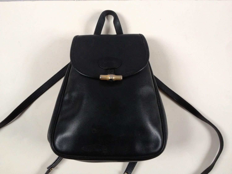 28f83fa54ce Vintage Longchamp Black Leather Rucksack Backpack/ Longchamp Leather  Rucksack/ Black Leather Bag/ Small Leather Rucksack/ Leather Rucksack by  Tukvintage on ...