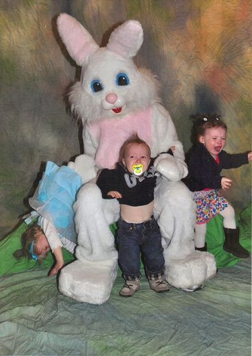 oh my lord.  my children will never get their picture taken with the easter bunny.  it just screams never-ending nightmares to me!