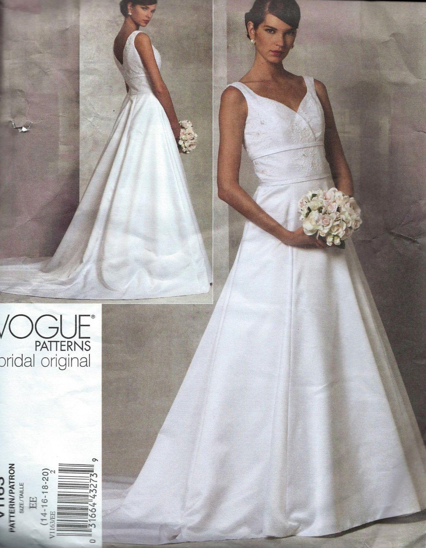 Vogue 1163 Bridal Originals Misses Wedding Dress Gown V1163 Size 14 16 18 And