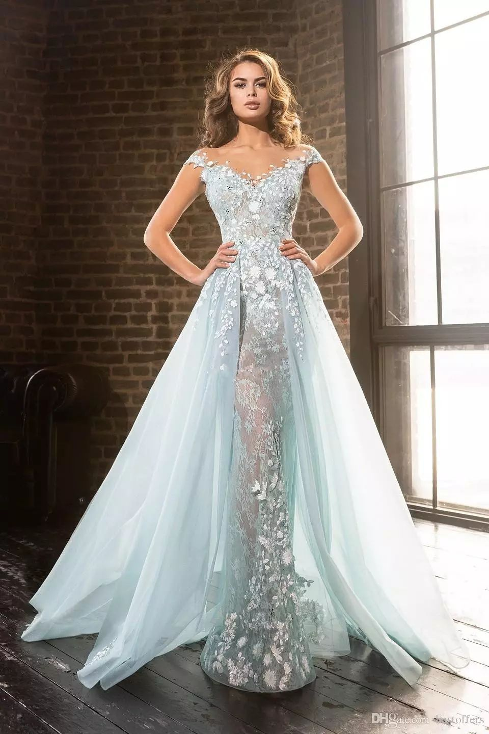 ccc1d5b8d18 Delicate Ice Blue Mermaid Prom Dresses with Detachable Train 2017 V Neck  Vintage Lace with Beads Overskirt Long Formal