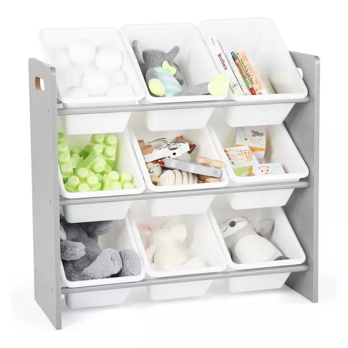 Wood Toy Organizer With 9 Plastic Bins Gray White Tot Tutors Target Toy Storage Organization Kids Toy Organization Plastic Bins