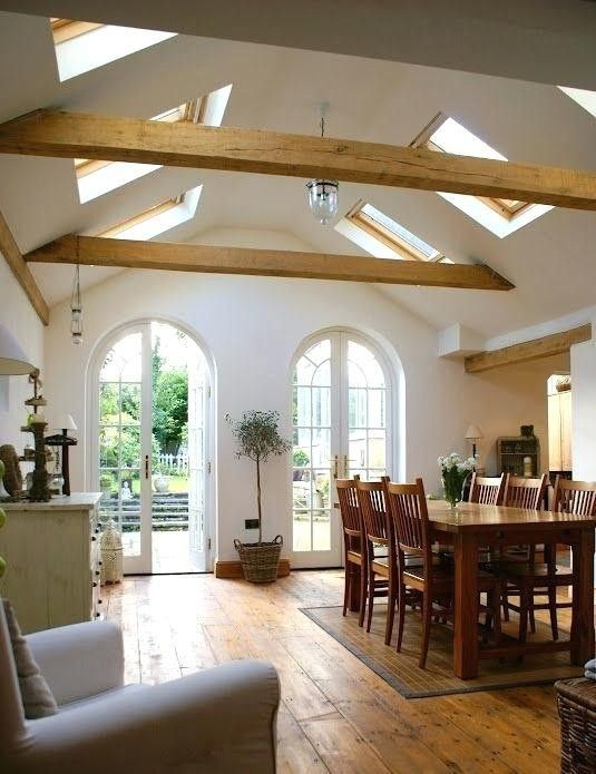 Vaulted Ceiling Living Room Decor Ideas: Vaulted Ceiling With Structural Oak Beams