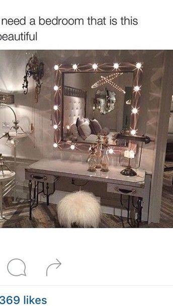 home accessory bedroom cute tumblr mirror faux fur silver white