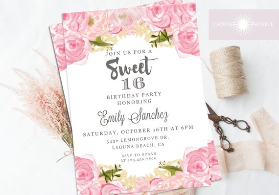 Sweet 16 Invite, Printable Sweet Sixteen Invite, 16th Birthday