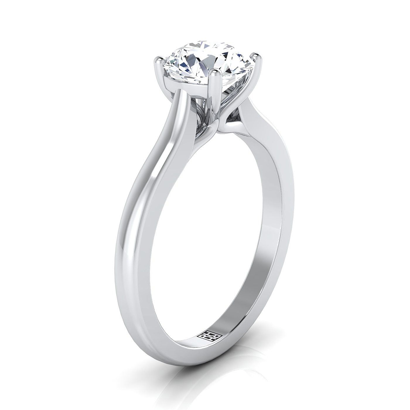 4 Prong Diamond Solitaire Engagement Ring With Rounded Shank In