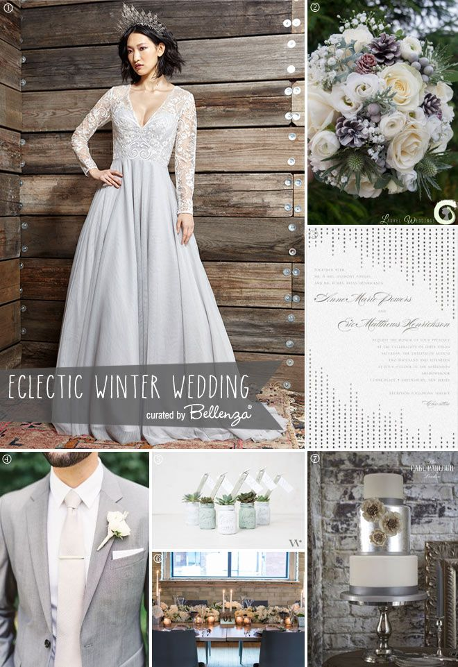 Grey Winter Wedding Ideas with an Eclectic