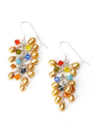 Sparkling Golden Pearl Pierced Earrings