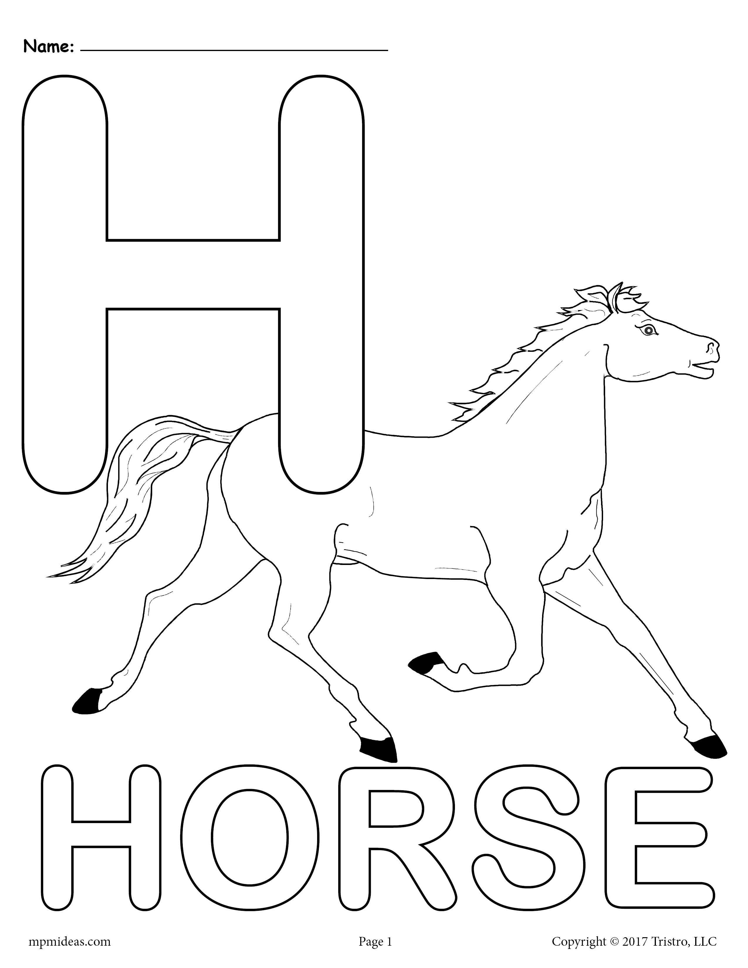 50+ H is for horse coloring page HD