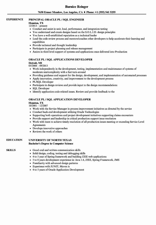 Entry Level Sql Developer Resume Inspirational Oracle Pl Sql Resume Samples In 2020 Job Resume Examples Resume Examples Professional Resume Examples