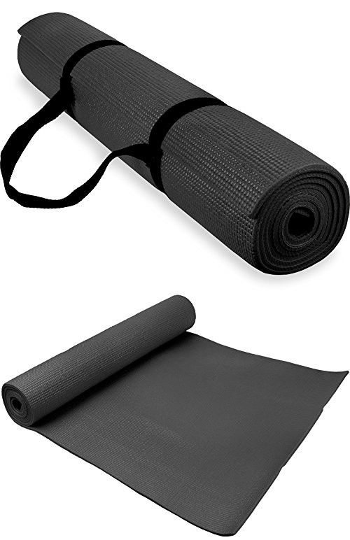 Spoga 1 4 Inch Anti Slip Exercise Yoga Mat With Carrying Strap Black Yoga Mat Yoga Fitness Exercise