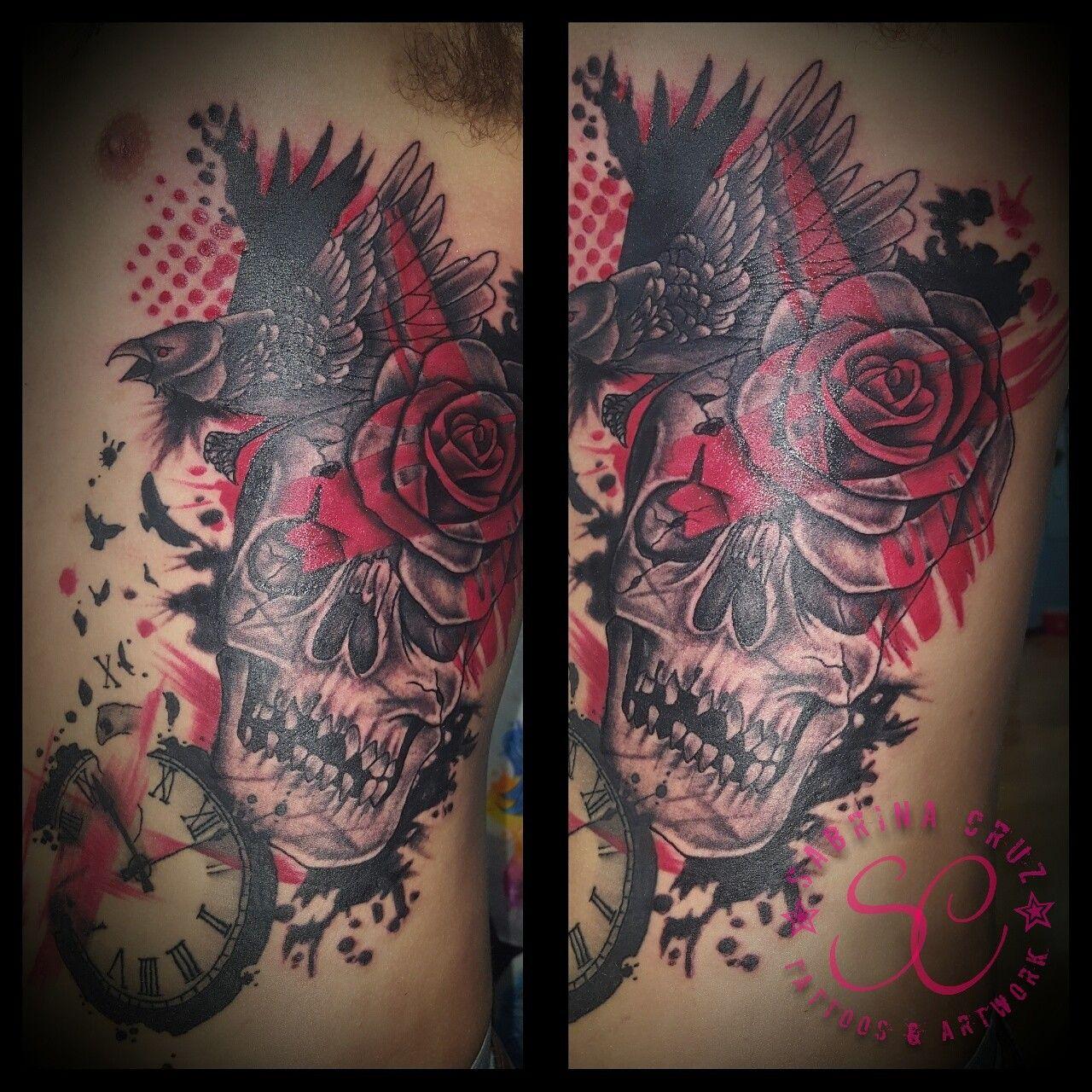 Skull and raven with rose trash polka tattoo. Artist Sabrina Cruz ...