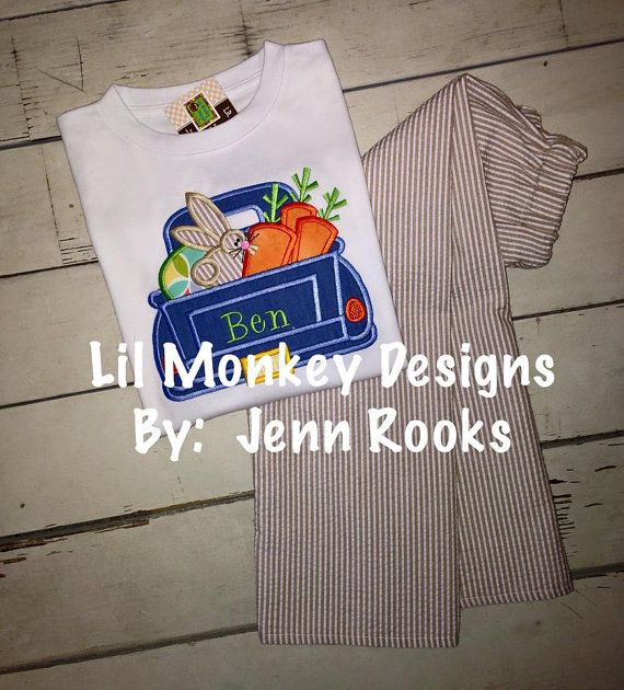 Easter Bunny Truck Outfit for Boys Easter by jennslilmonkeydesign