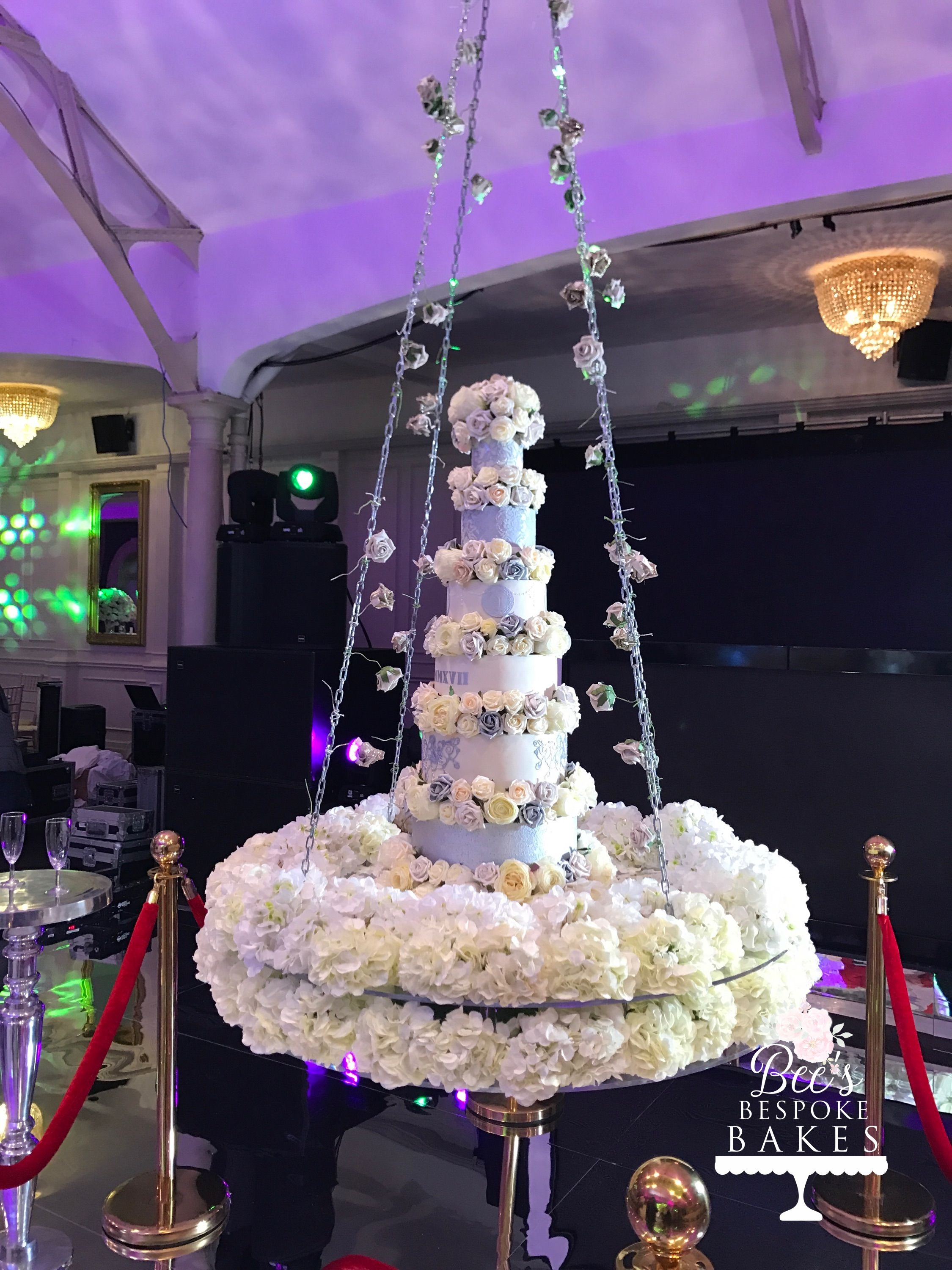 Luxury hanging six tier wedding cake with champagne ivory and