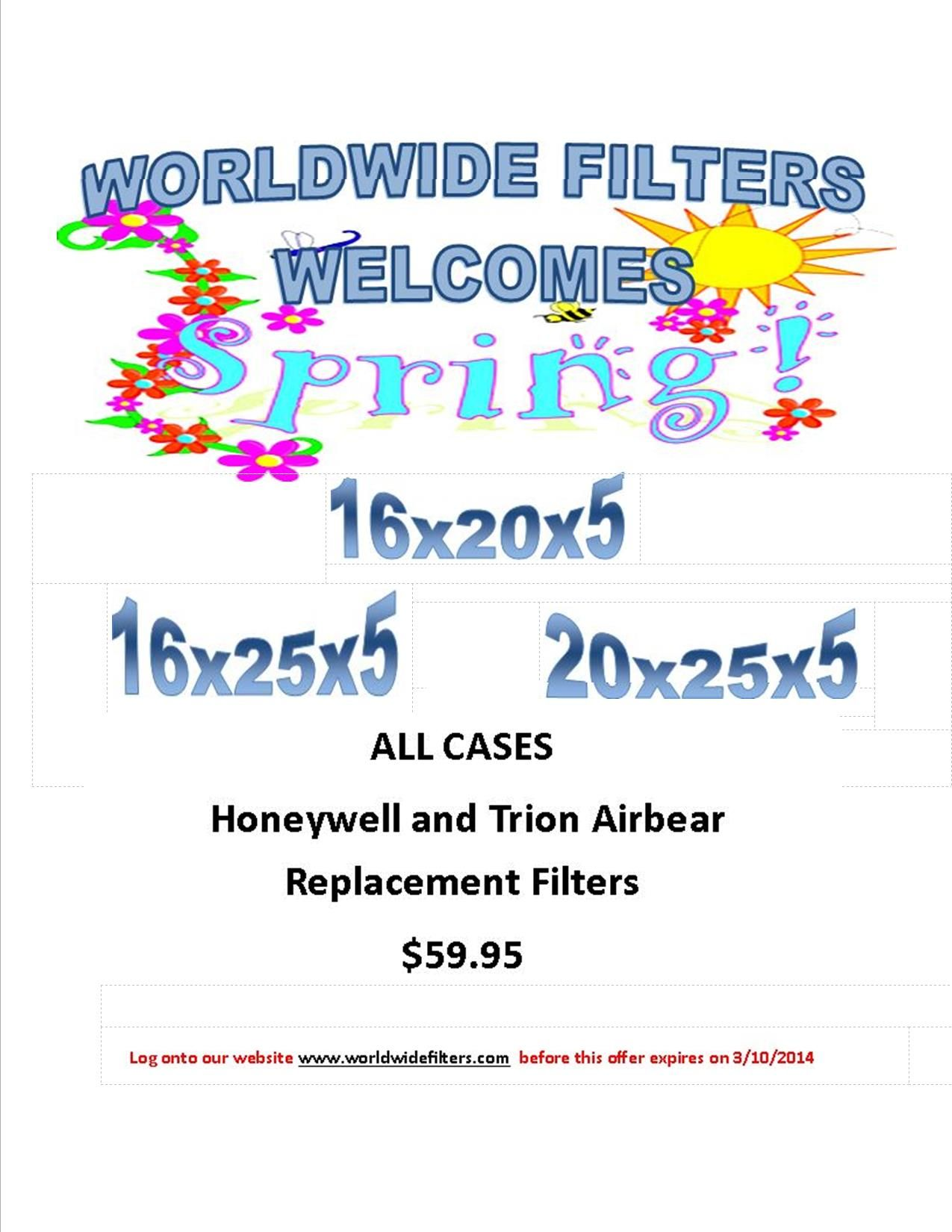 All Honeywell & Trion Air Bear replacement filters are now