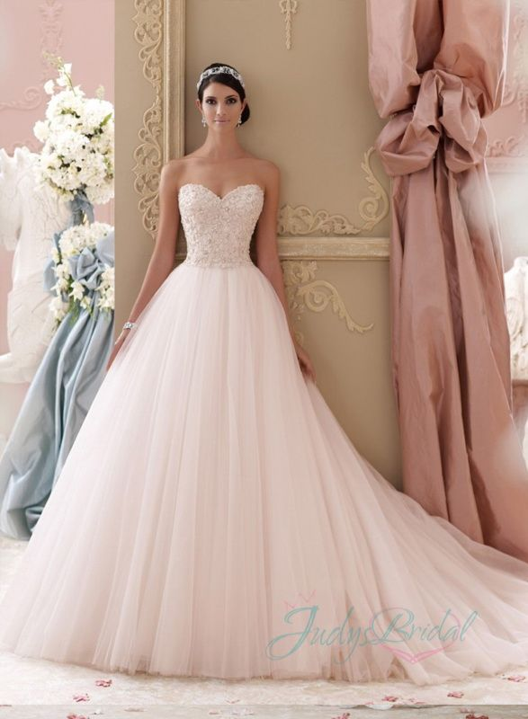 2015 new strapless blush colored beading lace overlay bodice tulle ...