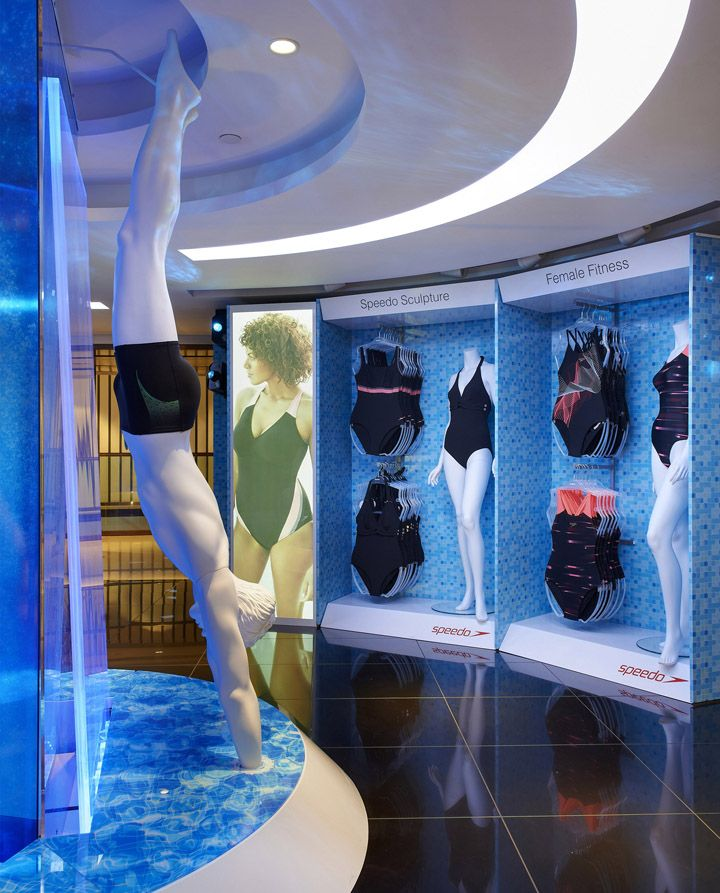 This innovated display makes a splash! Speedo store at