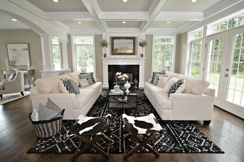 Transitional Living Room with Cowhide X Stool Ottoman Foot Bench ...