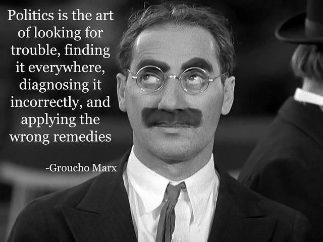 Politics is the art of looking for trouble, finding it everywhere, diagnosing it incorrectly, and applying the wrong remedies. ~ Groucho Marx