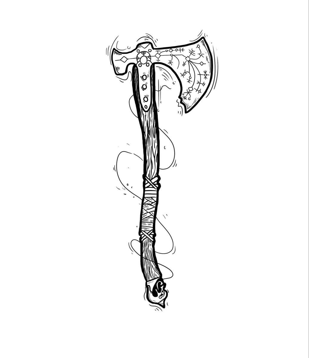 #kratos #tattoo #tattoodesign #axe #weapon #dotwork