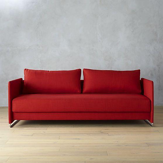 Tandom Red Sleeper Sofa Cb2