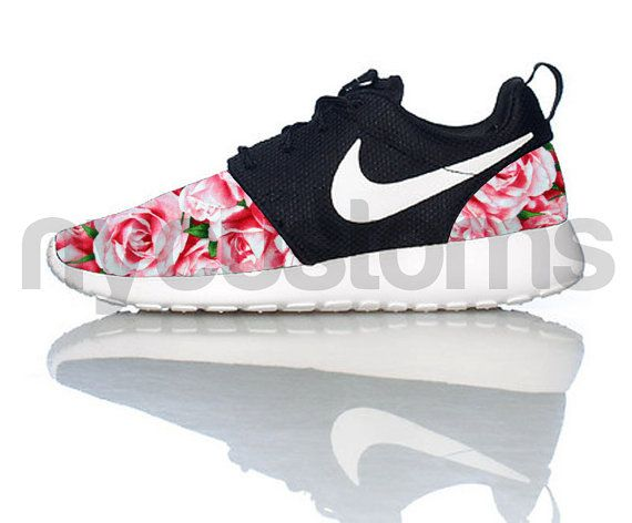 Nike Roshe exécution noir blanc boisseau de Roses V5