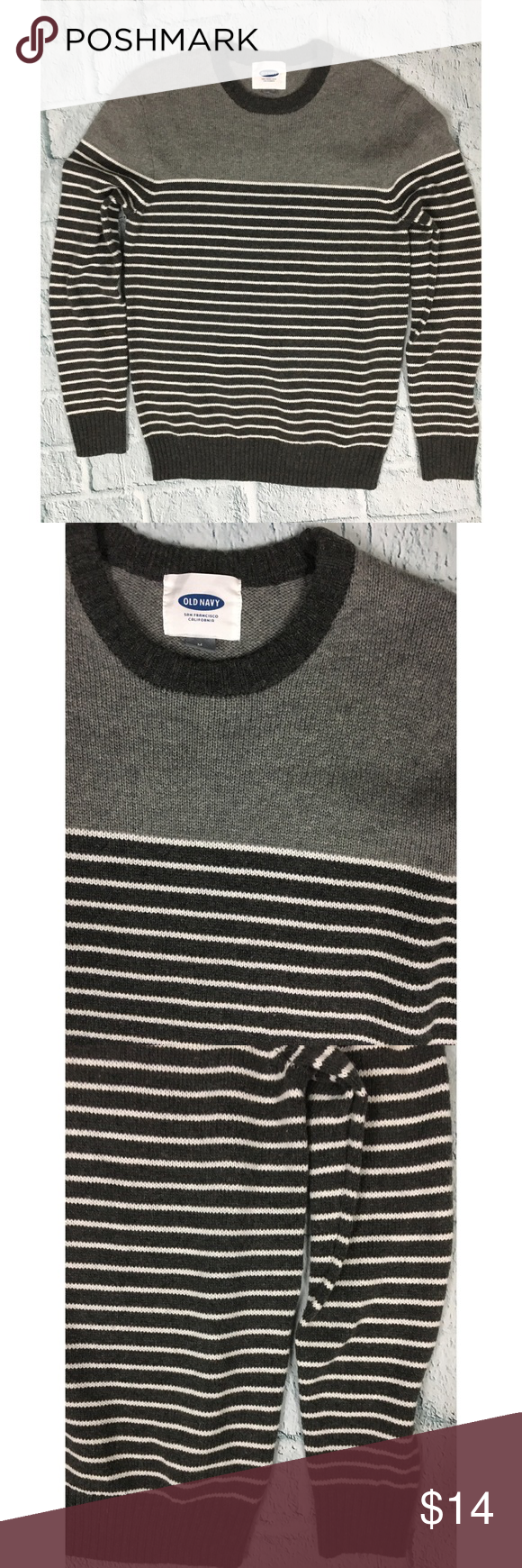 Old Navy Men's Gray Crewneck Striped Sweater Old Navy Men's Gray ...