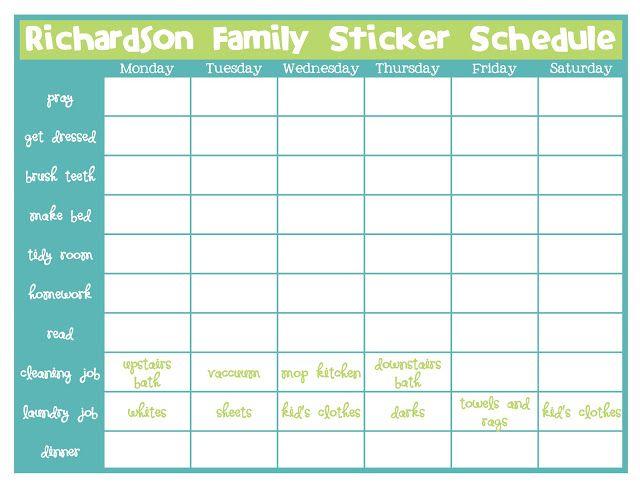 Sticker chore chart Kids Pinterest