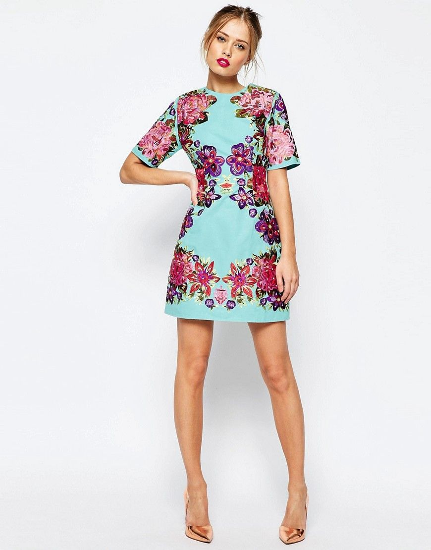 ASOS Lace And Embroidered Flower Mini Shift Dress at asos.com