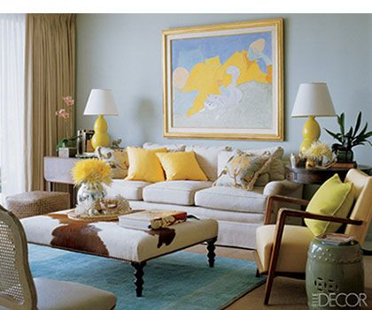 Diy Yellow Living Rooms  Living Room With Blue Walls Yellow And Custom Decor For Living Room Ideas Decorating Design