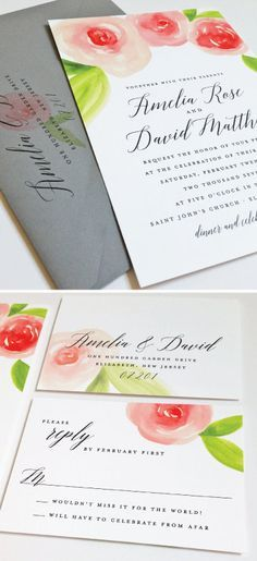 Amelia Watercolor Floral Spring Wedding Invitation Sample – Beautiful Script, Pink and Red Watercolour Roses, Botanical Flowers