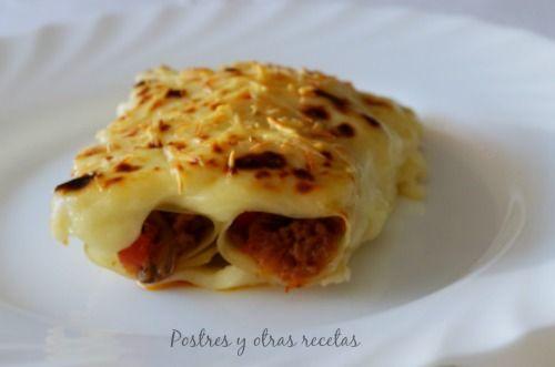 Deliciosos canelones. Su receta: postresyotrasrecetas.blogspot.com