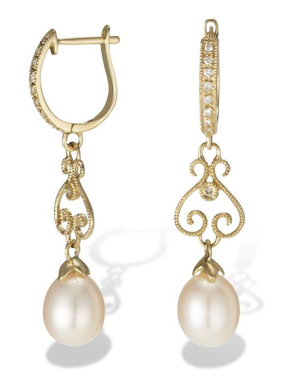 Diamond hoop earrings with fresh water Pearl drops -- lovely design!