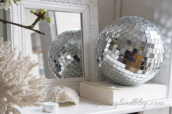 Disco Ball Table Decorations Mesmerizing Spring Mantel Decoration With Cherry Blossoms And A Disco Ball Inspiration Design
