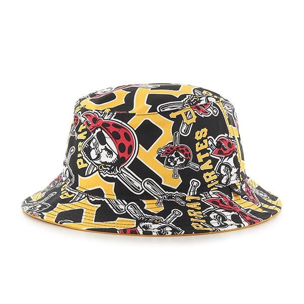 release date: 0431a 8ee91 Pittsburgh Pirates 47 Brand Yellow Black Bravado Bucket Hat