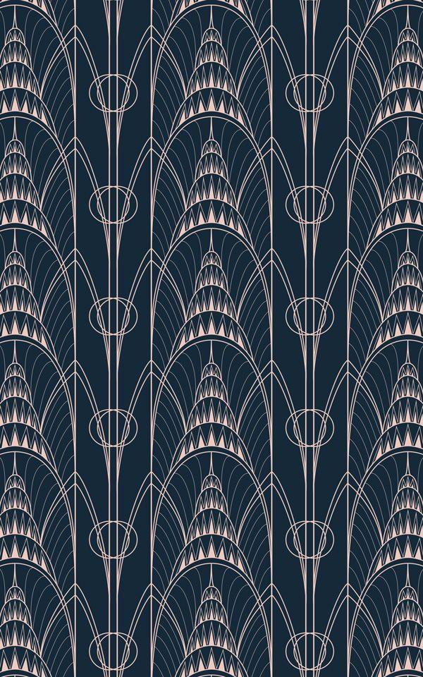 Papier Peint Art Déco Bleu avec Tour Chrysler | Murals Wallpaper