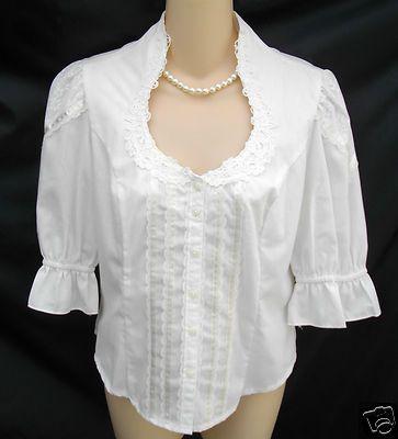 JESSICA GUNNIES Vintage Top Juniors 13 White 3/4 Sleeve Blouse Prairie Wild West  Mine was long sleeved!