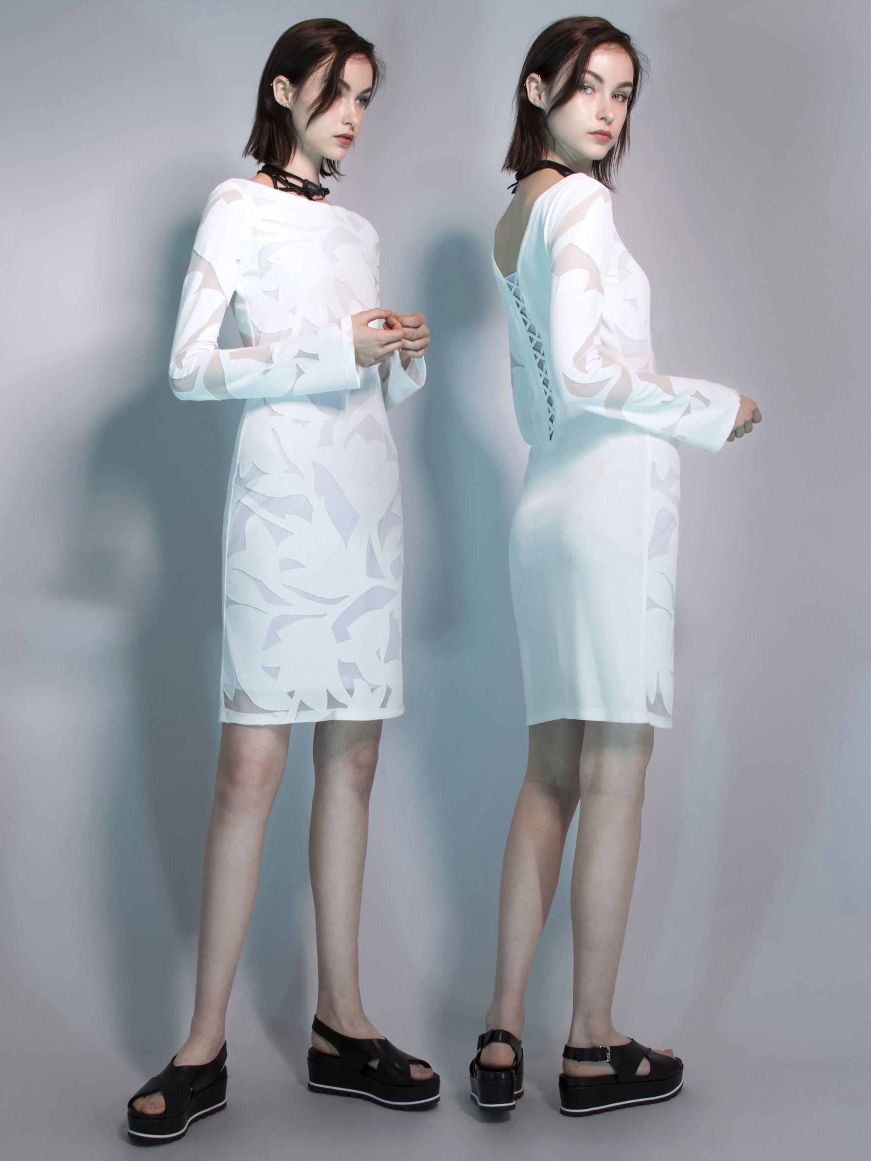 Cote D'Azur Devore Tunic Dress in White
